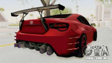 Toyota GT86 Drift Edition para GTA San Andreas traseira esquerda vista