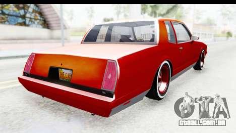 Chevrolet Monte Carlo Breaking Bad para GTA San Andreas traseira esquerda vista