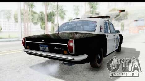 ГАЗ 24 de Polícia rodoviária Patrol para GTA San Andreas traseira esquerda vista