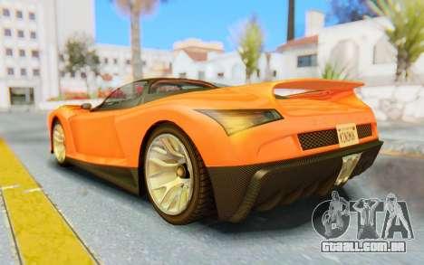 GTA 5 Grotti Cheetah IVF para GTA San Andreas esquerda vista