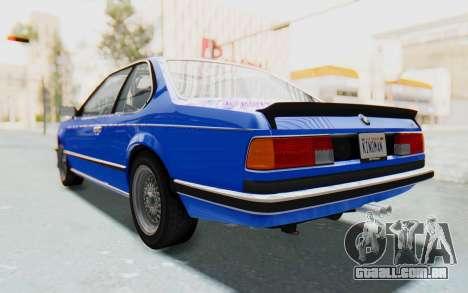 BMW M635 CSi (E24) 1984 HQLM PJ1 para GTA San Andreas traseira esquerda vista
