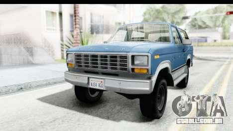 Ford Bronco 1980 para GTA San Andreas traseira esquerda vista