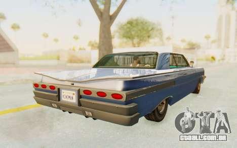 GTA 5 Declasse Voodoo Alternative v2 PJ para GTA San Andreas traseira esquerda vista