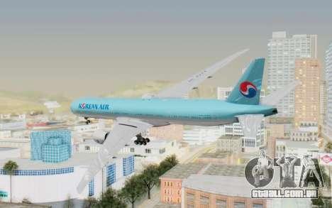 Boeing 777-300ER Korean Air para GTA San Andreas esquerda vista
