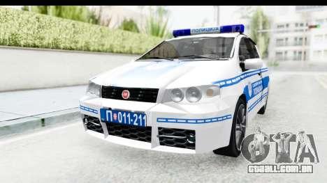 Fiat Punto Mk2 Policija para GTA San Andreas vista direita