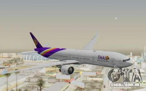 Boeing 777-300ER Thai International Airways para GTA San Andreas traseira esquerda vista