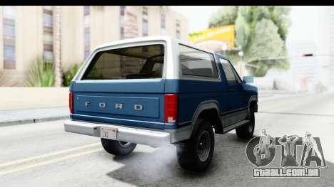 Ford Bronco 1980 para GTA San Andreas vista direita