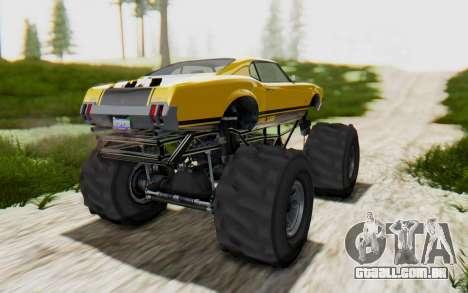 Declasse Sabre Turbo XL para GTA San Andreas traseira esquerda vista
