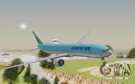 Boeing 777-300ER Korean Air para GTA San Andreas traseira esquerda vista