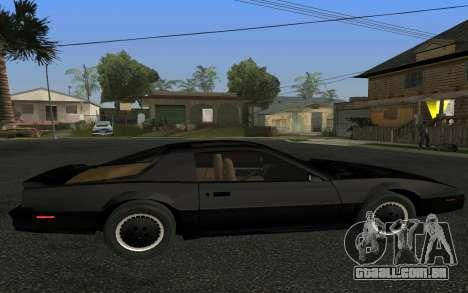 K.I.T.T. 2000 Pilot para GTA San Andreas esquerda vista