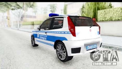 Fiat Punto Mk2 Policija para GTA San Andreas traseira esquerda vista