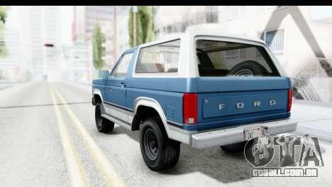Ford Bronco 1980 para GTA San Andreas esquerda vista