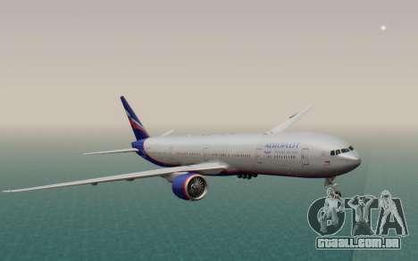 Boeing 777-300ER Aeroflot para GTA San Andreas traseira esquerda vista