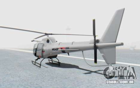 GTA 5 News Chopper Style Weazel News para GTA San Andreas esquerda vista