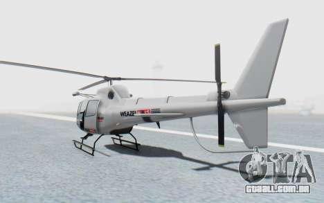 GTA 5 News Chopper Style Weazel News para GTA San Andreas esquerda vista