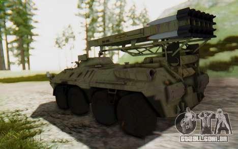 MGSV Phantom Pain ZHUK APC Tank para GTA San Andreas esquerda vista