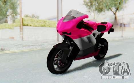 Ducati 1098R High Modification para GTA San Andreas traseira esquerda vista