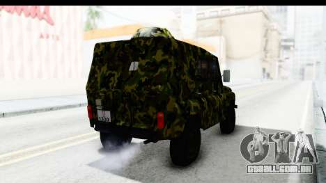 UAZ-469 polícia Militar da Sérvia para GTA San Andreas traseira esquerda vista