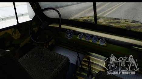 UAZ-469 polícia Militar da Sérvia para GTA San Andreas vista interior