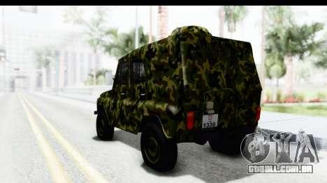 UAZ-469 polícia Militar da Sérvia para GTA San Andreas esquerda vista