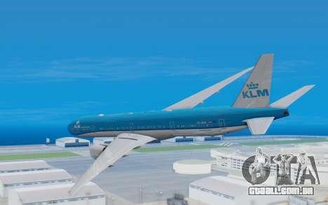 Boeing 777-300ER KLM - Royal Dutch Airlines v5 para GTA San Andreas vista direita