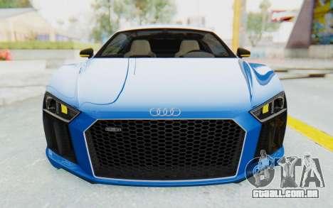 Audi R8 V10 Plus 2017 para GTA San Andreas vista inferior