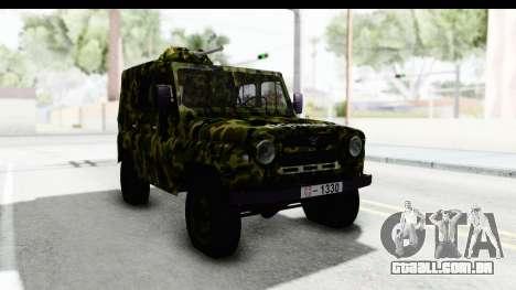 UAZ-469 polícia Militar da Sérvia para GTA San Andreas vista direita