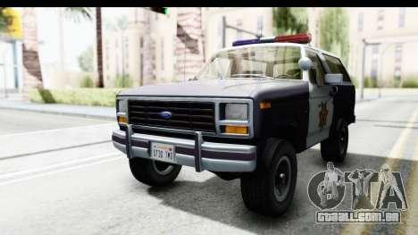 Ford Bronco 1982 Police para GTA San Andreas vista direita