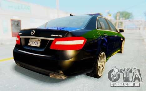 Mercedes-Benz E63 German Police Blue-Yellow para GTA San Andreas esquerda vista