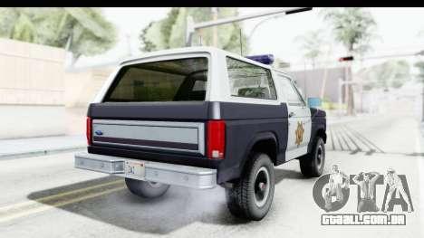 Ford Bronco 1982 Police para GTA San Andreas esquerda vista