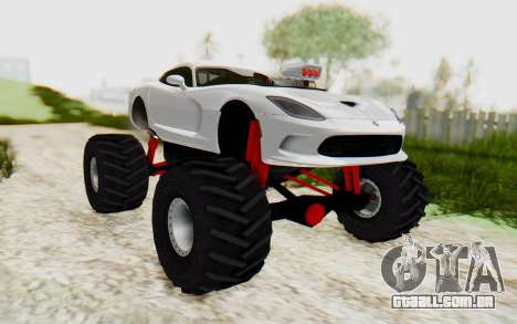 Dodge Viper SRT GTS 2012 Monster Truck para GTA San Andreas vista direita