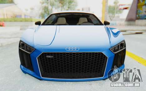 Audi R8 V10 Plus 2017 para GTA San Andreas vista superior