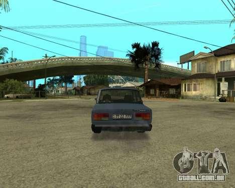 VAZ 2107 Armenian para GTA San Andreas vista traseira