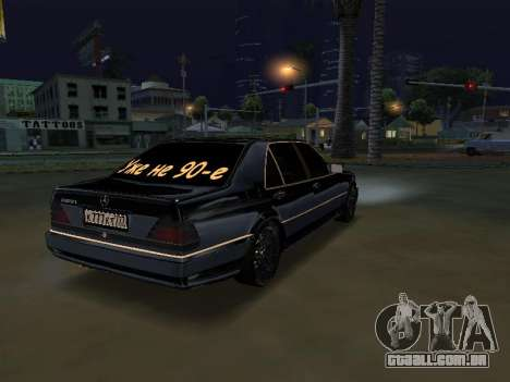 Mersedes-Benz W140 600SEL para GTA San Andreas esquerda vista