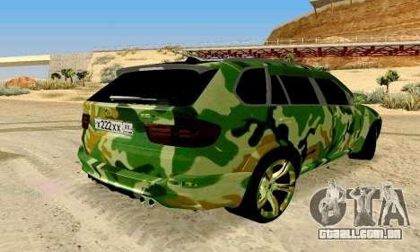 BMW X5M para GTA San Andreas traseira esquerda vista