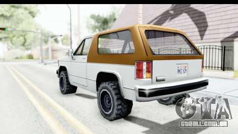 Ford Bronco from Bully para GTA San Andreas esquerda vista