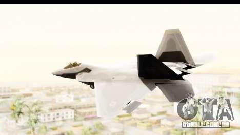 Lockheed Martin F-22 Raptor para GTA San Andreas esquerda vista