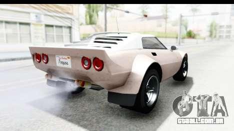 GTA 5 Lampadati Tropos SA Lights para GTA San Andreas esquerda vista