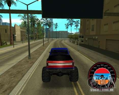 O velocímetro no estilo do armênio bandeira V 2. para GTA San Andreas quinto tela