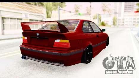 BMW M3 E36 Spermatozoid Edition para GTA San Andreas traseira esquerda vista