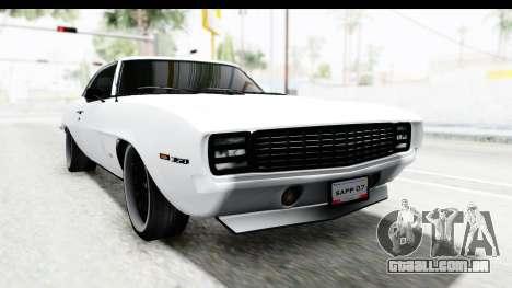 Chevrolet Camaro SS 1968 White Edition para GTA San Andreas vista direita