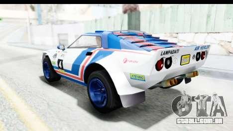 GTA 5 Lampadati Tropos Rallye IVF para as rodas de GTA San Andreas
