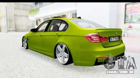 BMW M3 F30 Hulk para GTA San Andreas vista direita