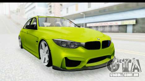 BMW M3 F30 Hulk para GTA San Andreas traseira esquerda vista