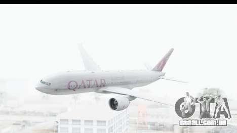 Boeing 777-200LR Qatar Airways para GTA San Andreas traseira esquerda vista