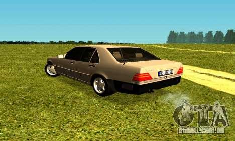 Mercedes Benz W140 para GTA San Andreas traseira esquerda vista