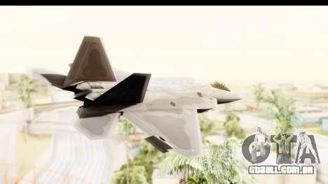 Lockheed Martin F-22 Raptor para GTA San Andreas vista direita