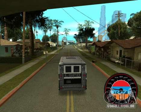 O velocímetro no estilo do armênio bandeira V 2. para GTA San Andreas terceira tela