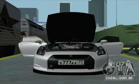 Nissan GT-R R35 Green Screen para GTA San Andreas traseira esquerda vista