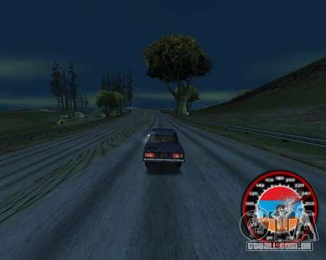 O velocímetro no estilo do armênio bandeira V 2. para GTA San Andreas segunda tela